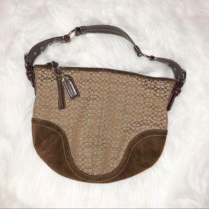 Coach hobo bag tan with brown c pattern